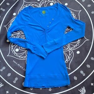 Tops - Blue Ruched Button Down V Neck Long Sleeve